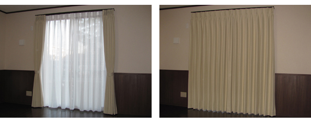さいたま市F様邸のリビング&寝室【クラシック・モダン】のオーダーカーテンの施工例