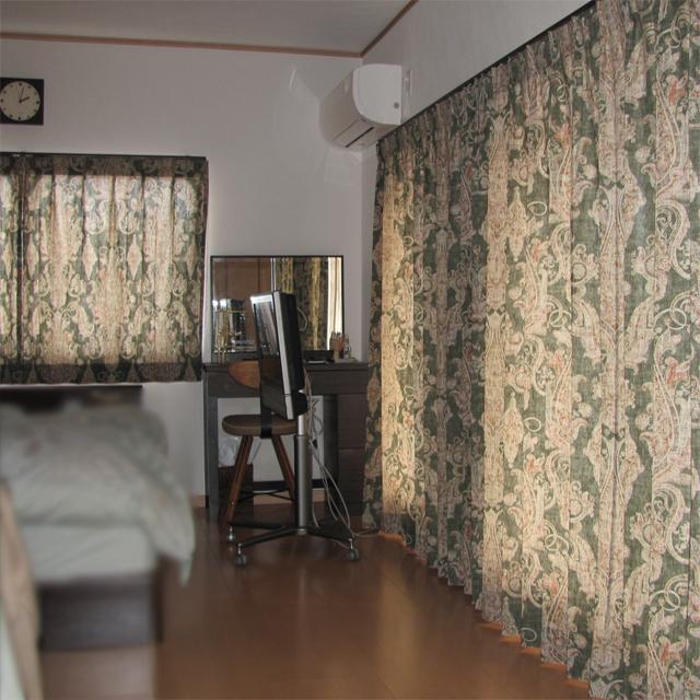埼玉県E様邸 【ビンテージ・デザイン】のオーダーカーテンの施工例【寝室A】