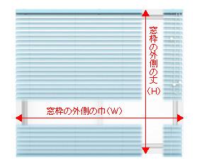 ブラインド 窓枠【正面付け】の採寸方法
