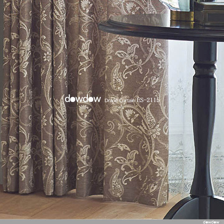 【クラシック モダン】ペイズリー柄のドレープカーテン&シェード【ES-2115】ブラウン