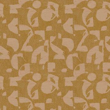 【イタリアン モダン】プリミティブなアフリカン柄のドレープカーテン&シェード【HS-3070】イエローオーカー