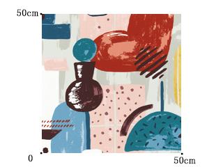 【ミッドセンチュリー】レトロなインテリア柄のドレープカーテン&シェード【HS-3100】ブルー&レッド