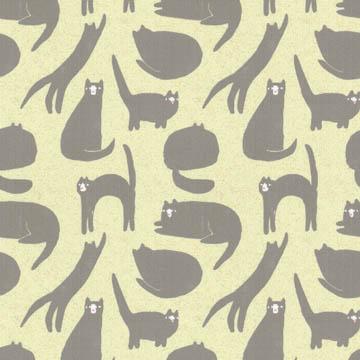 【北欧モダン】オシャレなネコ柄のドレープカーテン&シェード【HS-3101】ライトイエロー