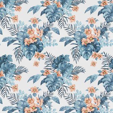 【イタリアン モダン】高級リゾートホテルの花柄のドレープカーテン&シェード【HS-3123】ブルー&オレンジ