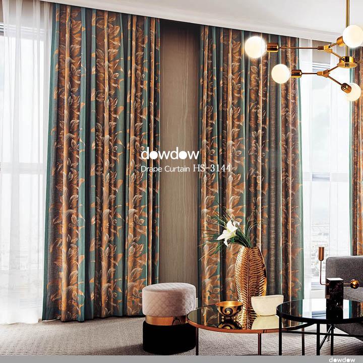 【ゴシック+モダン】銅のような光沢が美しい葉柄のドレープカーテン&シェード【HS-3144】カッパー