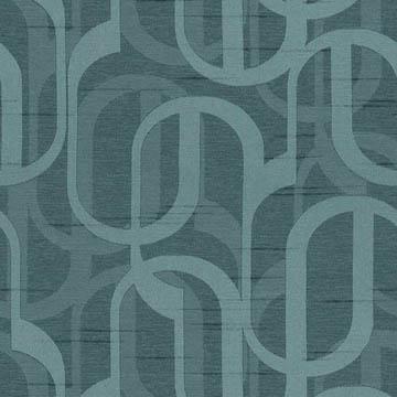 【シンプル モダン】幾何学柄の遮光カーテン&シェード【HS-3397】ブルーグリーン