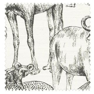 【ナチュラル・ビンテージ】野生の動物のスケッチのドレープカーテン&シェード【HS-4044】チャコール