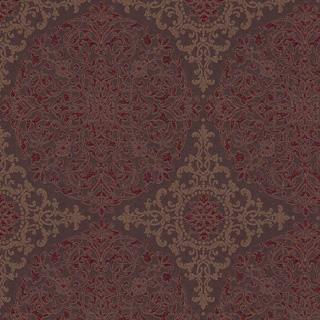 【クラシック・モダン】シャープなアラベスク柄のドレープカーテン&シェード【HS-4190】レッド&ブラウン