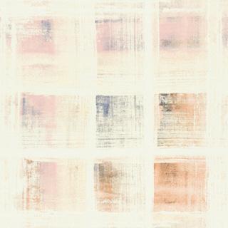 【ミッドセンチュリー】ビンテージ・プリントのブロック柄の遮光カーテン&シェード【HS-4367】ピンク&アイボリー