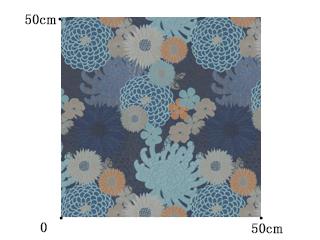 【和 モダン】菊のジャガード織のドレープカーテン&シェード【HS-7282】天色