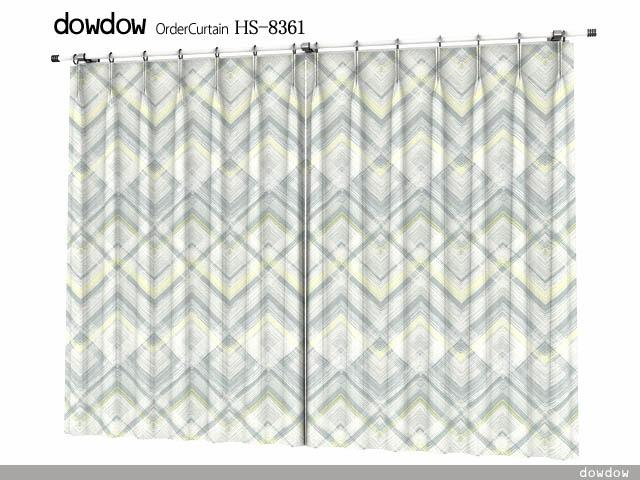 ミッドセンチュリー|モダンデザインのバイヤス・チェックの遮光カーテン&シェード【HS-8361】グレー&イエロー