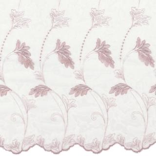 【フレンチシック】グリッターの植物の刺繍のレースカーテン【IS-61174】ピンク