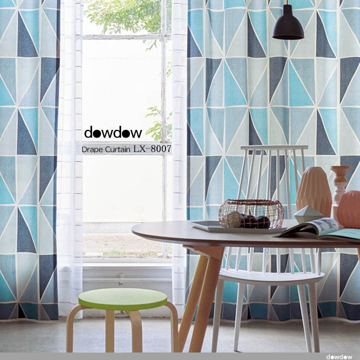 【ミッドセンチュリー】レトロな幾何学柄プリントのドレープカーテン&シェード【LX-8007】ブルー