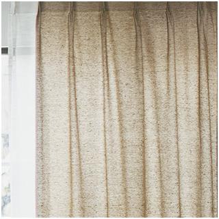 【ナチュラル ビンテージ】メランジ調のヘリンボーンのドレープカーテン【LX-8017】ベージュ