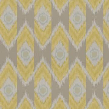 【エスニック ビンテージ】ネイティヴなイカット柄のドレープカーテン【LX-8032】イエローベージュ