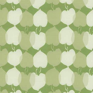 【ミッドセンチュリー】レトロな林檎プリントのドレープカーテン【LX-8046】フレッシュグリーン