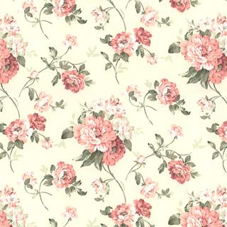 【アメリカン クラシック】サテン生地の花柄プリントのドレープカーテン【LX-8129】アイボリー