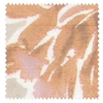 【フレンチ カントリー】水彩の花柄プリントのレースカーテン【LX-8436】ライトブラウン