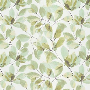 【ナチュラル ビンテージ】重なり合う葉柄のレースカーテン【LX-8440】グリーン