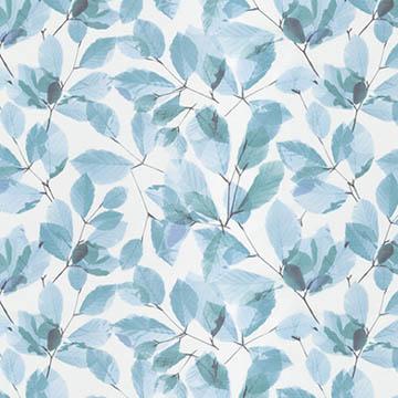 【ナチュラル ビンテージ】重なり合う葉柄のレースカーテン【LX-8441】ブルー
