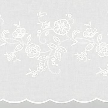 【シャビーシック】アンティーク調の花の刺繍のレースカーテン【LX-8455】ナチュラルホワイト