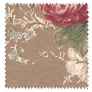 【アメリカン カントリー】薔薇の花柄プリントのドレープカーテン【RC-7085】ブラウン