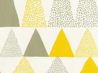 【ミッドセンチュリー】三角の幾何学柄のプリントのドレープカーテン【RC-7114】イエロー