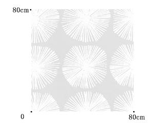 【ミッドセンチュリー】放射円の幾何学柄のオパールプリントのレースカーテン&シェード【RXC-7215】ホワイト
