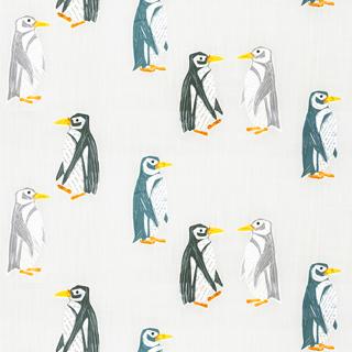 【北欧モダン】ペンギンのオパールプリントのレースカーテン&シェード【RX-8129】アイボリー