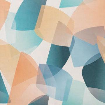 【ミッドセンチュリー】レトロな幾何学プリントのレースカーテン&シェード【RX-9151】マルチカラー