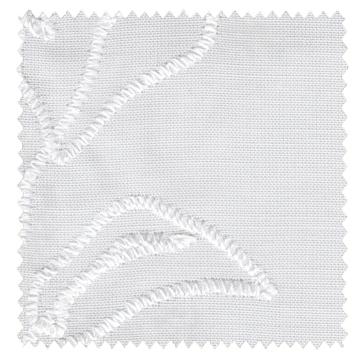 【北欧モダン】葉のステッチ刺繍のレースカーテン【RX-A941】オフホワイト