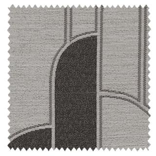 【ミッドセンチュリー】ゆるやかな幾何学柄のドレープカーテン&シェード【SC-0093】ダークブラウン