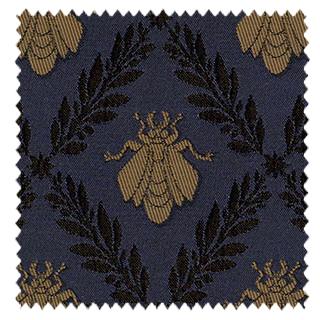 【アンティーク・クラシック】月桂樹と蜜蜂のジュガード織のドレープカーテン&シェード【SC-0142】ネイビー&ゴールド