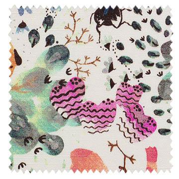 【北欧モダン】森の栗鼠(リス)のプリントのドレープカーテン&シェード【SC-2052】オレンジ&グリーン