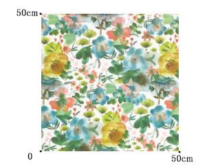 【北欧モダン】初夏の牧草地の花々のプリントのドレープカーテン【SC-2053】グリーン