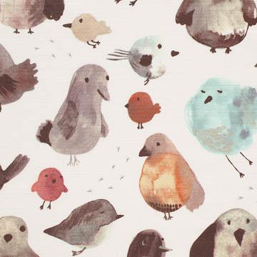 【北欧モダン】コロッとした鳥たちのプリントのドレープカーテン&シェード【SC-2055】