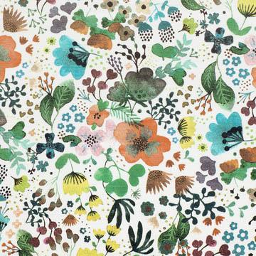 【北欧モダン】フィンランドの庭の花々のプリントのドレープカーテン&シェード【SC-2056】オレンジ