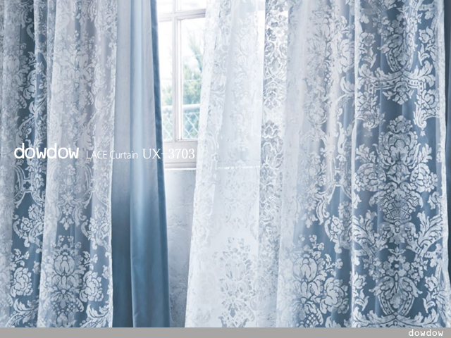 【ゴシック】退廃的なダマスク柄のオパールプリントのレースカーテン【UX-3703】アイボリー