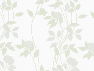 【北欧モダン】葉と花のオパールプリントのレースカーテン【UX-3715】ホワイト&グリーン