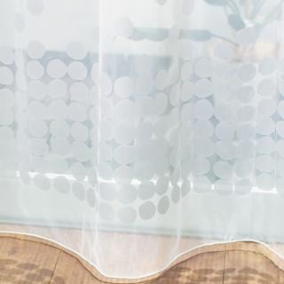 【北欧モダン】雪のデザインのオパールプリントのレースカーテン【UX-5144】ホワイト