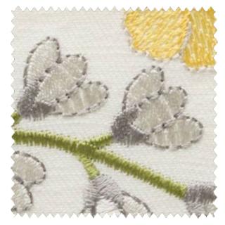 【フレンチ カントリー】南フランスの花の刺繍のドレープカーテン&シェード【UX-5331】イエロー&アイボリー
