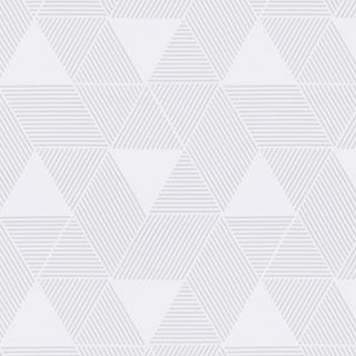 【ミッドセンチュリー】三角の幾何学柄のオパールプリントのレースカーテン&シェード【UX-5563】ホワイト