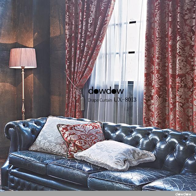 【ゴシック*モダン】華美なダマスク柄のベルベット・プリントのドレープカーテン【UX-8013】レッド