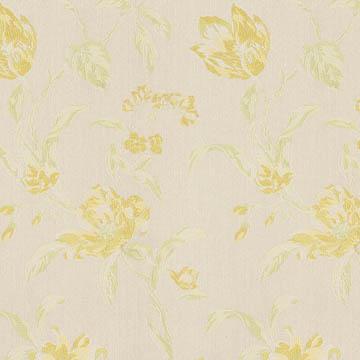【フレンチ カントリー】可憐な花柄のジャガード織のドレープカーテン【UX-8116】イエロー