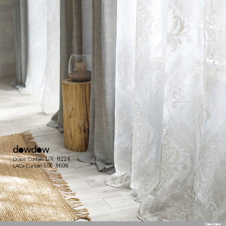 【シャビーシック】アンティーク加工のオパールプリントのレースカーテン【UX-8606】アイボリー&ドレープカーテン【UX-8224】