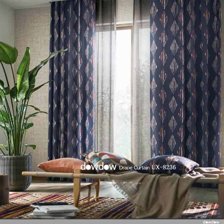 【エスニック ビンテージ】ネイティヴな幾何学柄の刺繍のドレープカーテン【UX-8236】ウォシュブラック