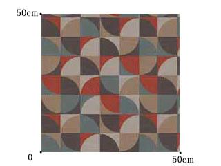 【ミッドセンチュリー】深い色味の幾何学柄のドレープカーテン【UX-8237】ディープトーン