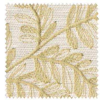 【北欧ナチュラル】葉の刺繍のドレープカーテン&シェード【UX-8238】イエロー&アイボリー