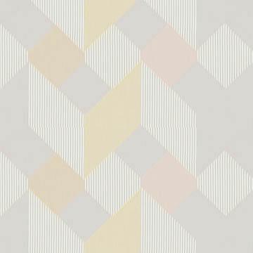 【ミッドセンチュリー】カラフルなバックカットの幾何学柄のレースカーテン【UX-8263】ピンク&イエロー