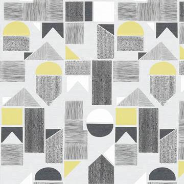 【北欧モダン】レトロな幾何学柄プリントのレースカーテン【UX-8288】イエロー&ブラック